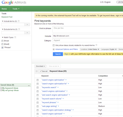 Search Keywords with Google External Keyword Tool